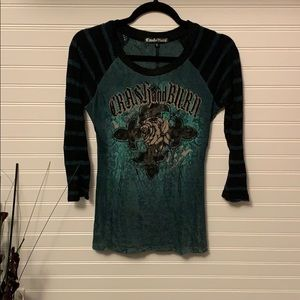 CRASH & BURN 3/4 SLEEVE TOP